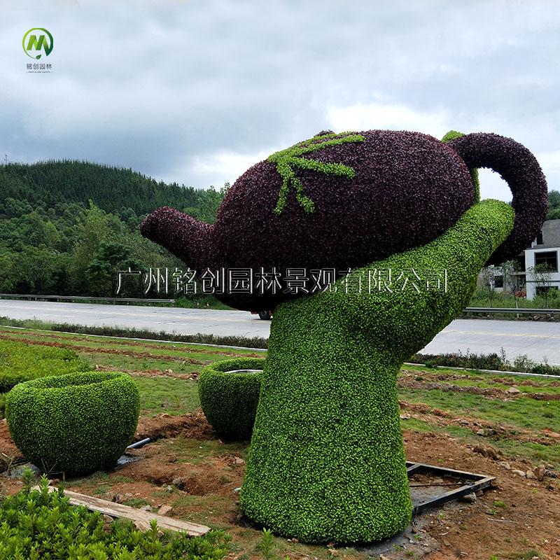 茶壶仿真绿雕